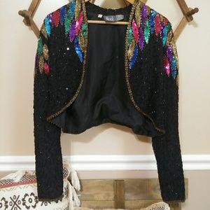 Jackets & Blazers - Modi 80s style colorful sequin jacket